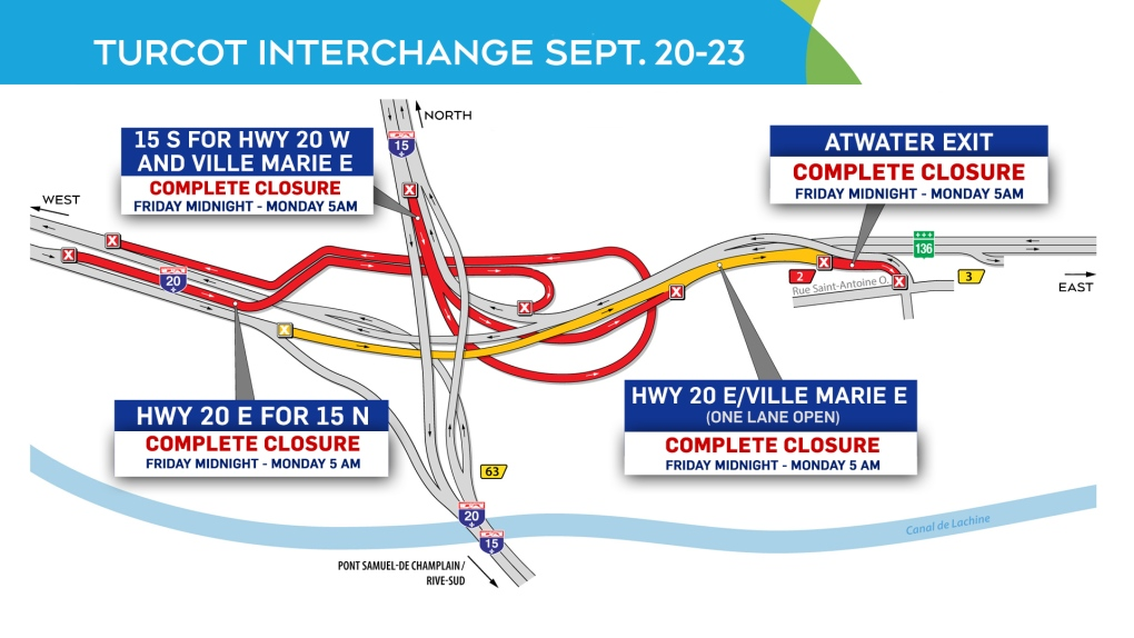 Montreal road closures for the weekend of Sept. 21-22