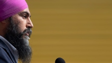 NDP Leader Jagmeet Singh speaks during a campaign announcement in Essex, Ont., Friday, Sept. 20, 2019. THE CANADIAN PRESS/Adrian Wyld