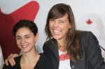 "Director of ""Antigone"" Sophie Deraspe, right, smiles alongside actress Nahema Ricci during a news conference to announce ""Antigone"" as Canada's entry for the 2020 Academy Awards for the best international film in Montreal, Friday, Sept. 20, 2019. THE CANADIAN PRESS/Graham Hughes"
