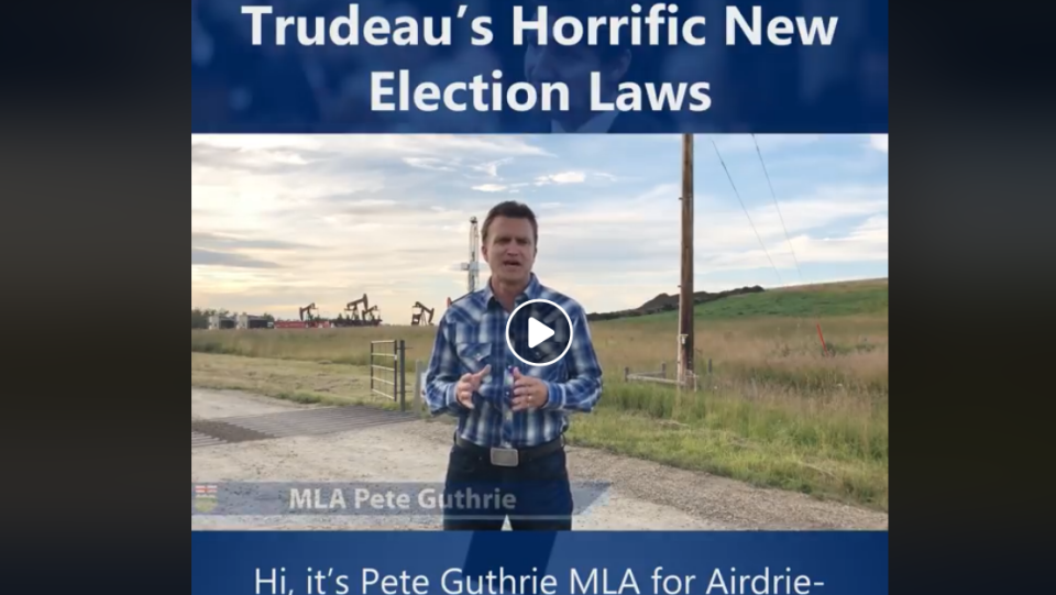 "A video shared Sept. 16 by Peter Guthrie, a Conservative Member of the Legislative Assembly for Alberta's Airdrie-Cochrane riding, suggests that the Liberal government under Justin Trudeau made changes to the election law to ""increase control over Canadian election results."