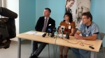 Corey Miller, Carrie Dornstauder and Dr. Ron Siemens with the Saskatchewan Health Authority take media questions about the new Jim Pattison Children's Hospital scheduled to open Sept. 29. (Laura Woodward/CTV News Saskatoon)