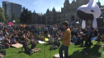 Students participate in climate protests in Victoria on Friday. (CTV Vancouver Island)