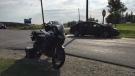 A motorcyclist was taken to hospital after a crash at Punkeydoodles Corners. (Sept. 20, 2019)