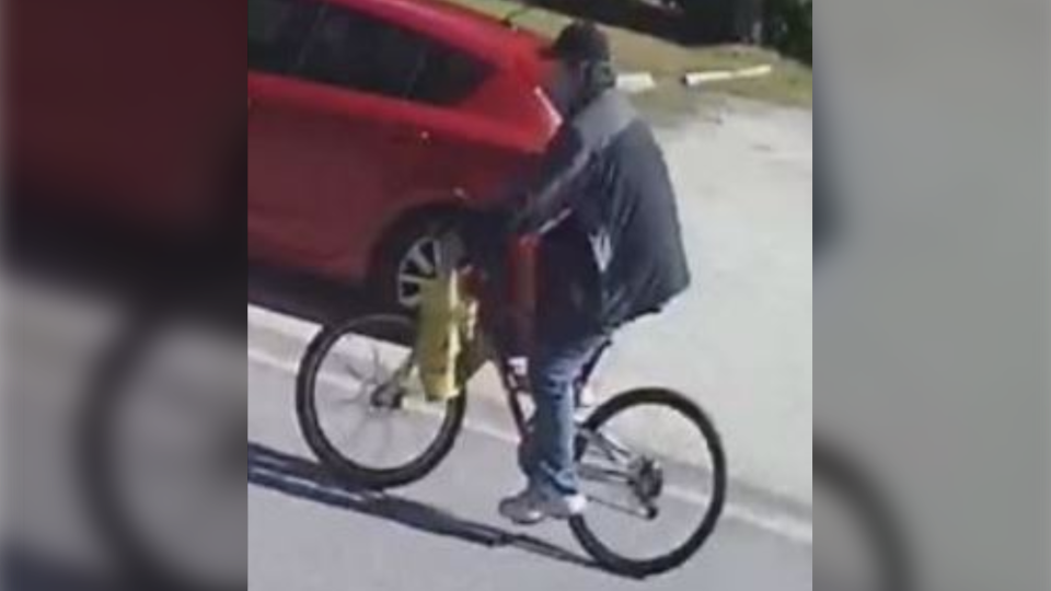 The OPP released this image of a man biking in the area of Market Lane when the incident occurred. They are looking to speak with him. (Ontario Provincial Police)