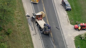 Police investigate a serious crash in Bradford on Sept. 20. (CTV News Toronto)