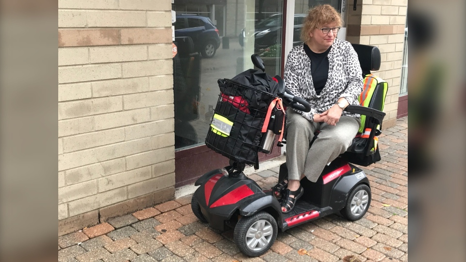 Lucie Diane lives with multiple sclerosis and uses a scooter and Transit Plus to get to work, church and go shopping. (Josh Crabb/CTV News.)