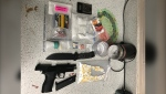 Innisfail RCMP discovered drugs, weapons and cash in a search of a car Friday, resulting in multiple charges for a 34 year old Rocky Mountain House resident