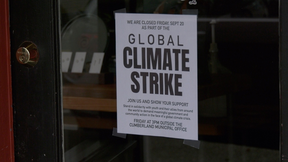 In a show of solidarity for participants in Friday's climate strike, several merchants in the Village of Cumberland closed up their stores for the day. (CTV Vancouver Island)
