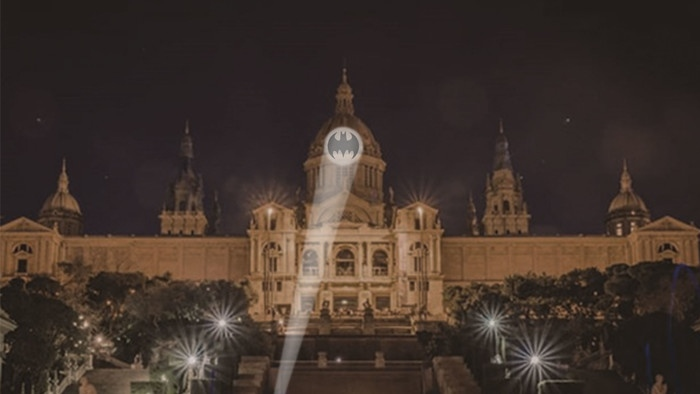 A rendering of the Bat-Signal projection on Barcelona's Museu Nacional d'Art de Catalunya. Montreal is one of the 13 cities across the globe where you can see a Bat-Signal lighting up the night sky this Batman Day.  (DC Comics)