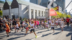 In the first day of the Rock 'N' Roll Montreal Marathon weekend, over 500 kids and their parents ran in the 1K P'Tit marathon Tel-Jeunes to raise money for the youth help line. SOURCE International Oasis Marathon de Montreal