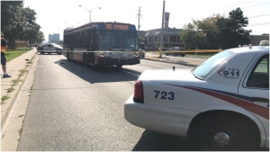 A 23-year-old man was transported to hospital in serious condition after being struck by a TTC bus Saturday afternoon. (CTV News Toronto)