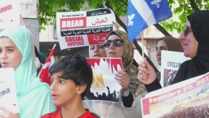 Members of Montreal's Egyptian community joined the protests calling for Egypt's president El-Sisi to step down.
