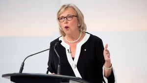 Green Party Leader Elizabeth May speaks during the Maclean's/Citytv National Leaders Debate in Toronto on Thursday, Sept. 12, 2019. THE CANADIAN PRESS/Frank Gunn