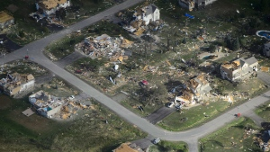 Damage from a tornado is seen in Dunrobin, Ont. west of Ottawa on September 22, 2018. THE CANADIAN PRESS/Sean Kilpatrick