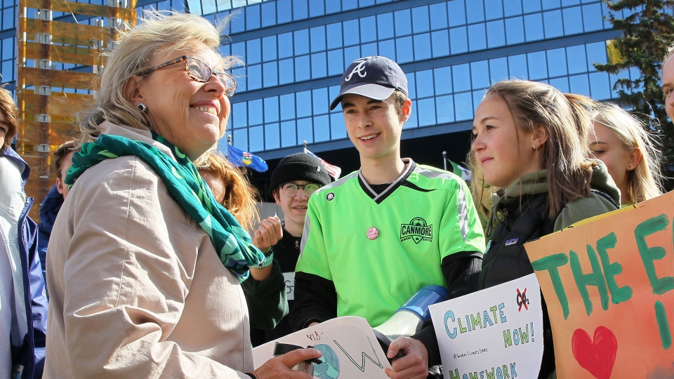 Green Party Leader Elizabeth May joins climate change activists and students as they gather in Calgary for a protest and