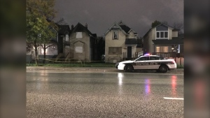 Winnipeg police say a body was found on Balmoral Street Saturday night. (Mike Arsenault/CTV News Winnipeg)