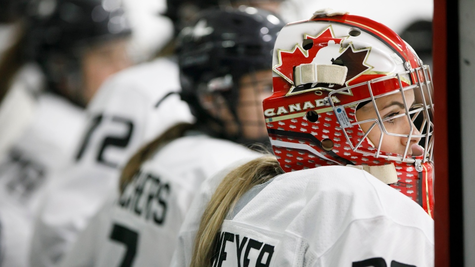 Golatender Emerance Maschemeyer is seen on the bench at the Unifor Women's Hockey Showcase in Toronto, Sunday, Sept. 22, 2019. THE CANADIAN PRESS/Cole Burston