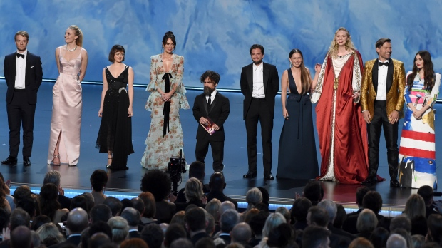 "The cast of ""Game of Thrones"" appear on stage to present the award for outstanding supporting actress in a limited series or movie at the 71st Primetime Emmy Awards on Sunday, Sept. 22, 2019, at the Microsoft Theater in Los Angeles. (Photo by Chris Pizzello/Invision/AP)"