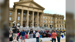 Several police officers were dispatched to the Alberta Legislature Sunday evening after tensions rose during an Indigenous ceremony.