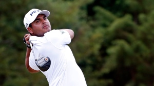 Sebastian Munoz, of Columbia, hits from the third tee during the final round of the Sanderson Farms Championship golf tournament in Jackson, Miss., Sunday, Sept. 22, 2019. (AP Photo/Rogelio V. Solis)