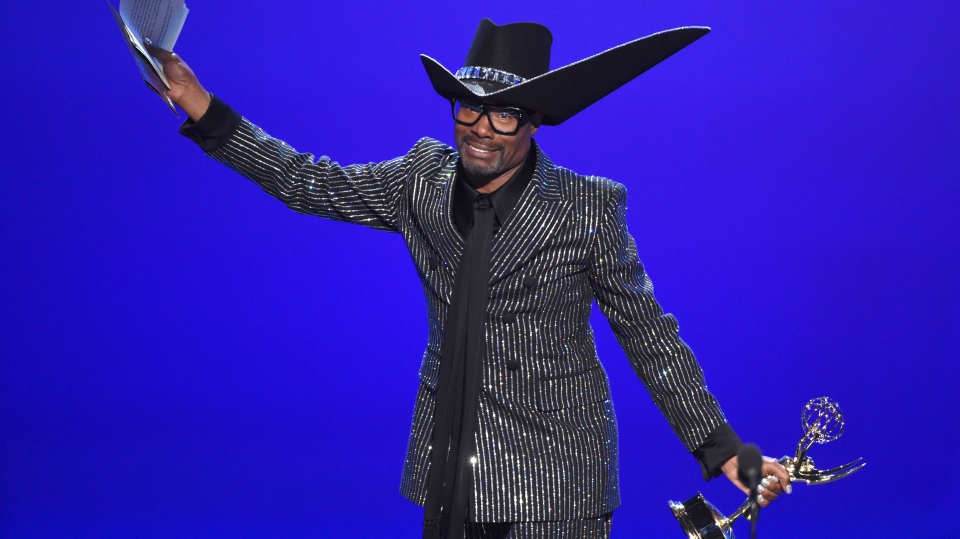 "Billy Porter accepts the award for outstanding lead actor in a drama series for ""Pose"" at the 71st Primetime Emmy Awards on Sunday, Sept. 22, 2019, at the Microsoft Theater in Los Angeles. (Photo by Phil McCarten/Invision for the Television Academy/AP Images)"