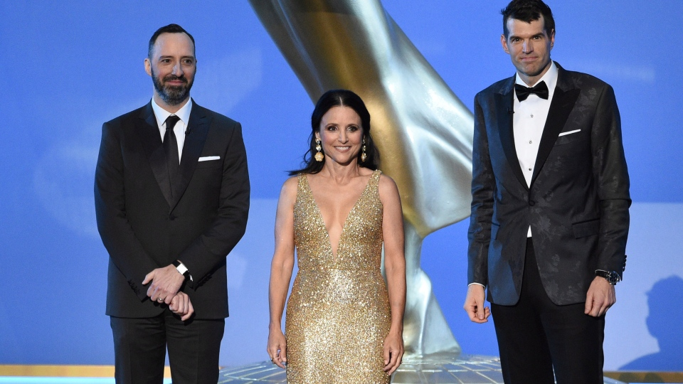 Tony Hale, from left, Julia Louis-Dreyfus and Timothy Simons appear on stage at the 71st Primetime Emmy Awards on Sunday, Sept. 22, 2019, at the Microsoft Theater in Los Angeles. (Photo by Chris Pizzello/Invision/AP)