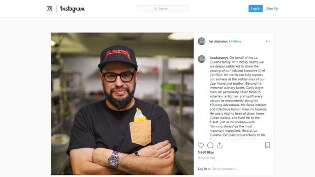Celebrity chef Carl Ruiz