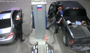 OPP released this image of two suspects wanted in connection to a gas theft in Cambridge.