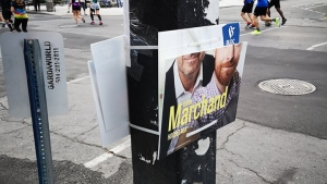Simon Marchand took this photo of his vandalized election poster on Sept. 22, 2019