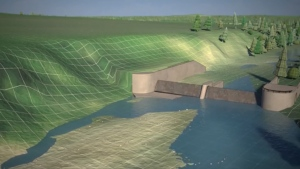 Digital model of the Springbank dam, a proposed flood mitigation project west of Calgary