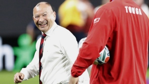 England's coach Eddie Jones, left, at Sapporo Dome in Japan, on Sept. 22, 2019. (Masanori Takei / Kyodo News via AP)