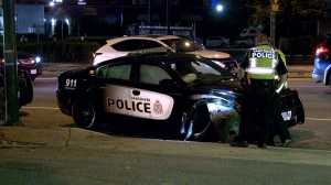 A Vancouver police car appeared to crash into a pole Sunday night.