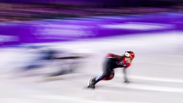 Kim Boutin competes at the 2018 Olympics