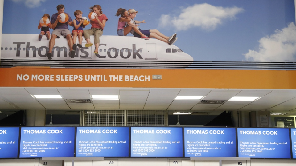Thomas Cook check-in desk in Gatwick Airport