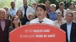 Leader of the Liberal Party of Canada, Justin Trudeau, makes a health care policy announcement in Hamilton, Ontario on Monday Sept. 23, 2019. THE CANADIAN PRESS/Ryan Remiorz