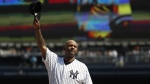 New York Yankees' CC Sabathia waves to fans as he is honored before a baseball game against the Toronto Blue Jays, Sunday, Sept. 22, 2019, in New York. (AP Photo/Michael Owens)