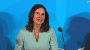 Montreal Mayor Valerie Plante addresses the United Nations about climate change on Sept. 23, 2019