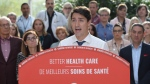 Leader of the Liberal Party of Canada, Justin Trudeau, makes a health care policy announcement in Hamilton, Ontario on Monday Sept. 23, 2019. (THE CANADIAN PRESS/Ryan Remiorz)