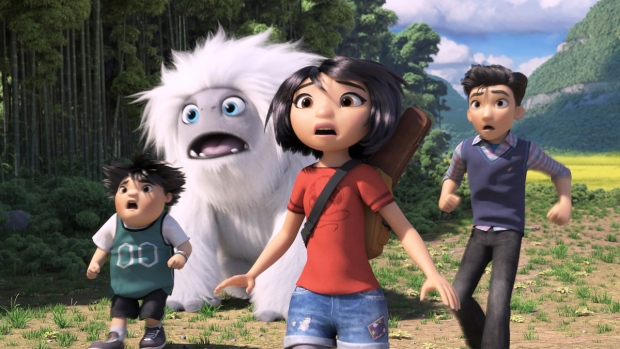Characters, from left, Peng, voiced by Albert Tsai, Everest the Yeti, Yi, voiced by Chloe Bennet and Jin, voiced by Tenzing Norgay Trainor, in a scene from 'Abominable,' in theatres on Sept. 27. (DreamWorks Animation LLC via AP)