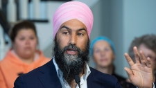 NDP Leader Jagmeet Singh makes a healthcare announcement during a campaign stop in Bathurst, N.B. on Monday, Sept. 23, 2019. THE CANADIAN PRESS/Andrew Vaughan