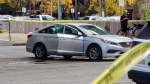 A vehicle was shot at outside an apartment building in broad daylight on Saturday afternoon. (Photo supplied)