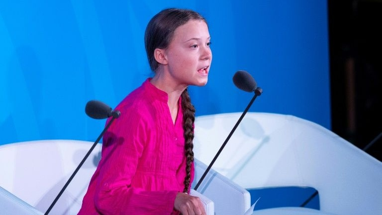 Thunberg during the UN speech. (AFP)