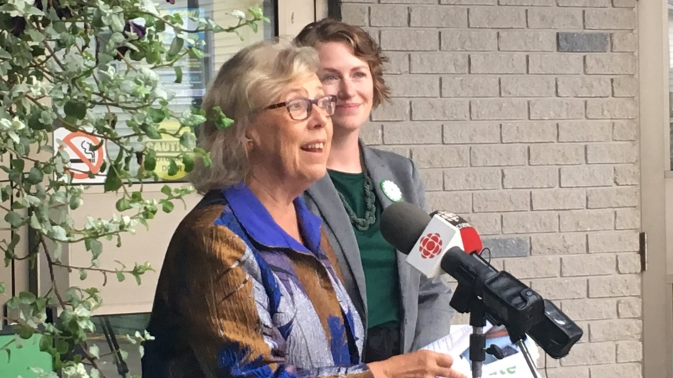 Federal Green Leader Elizabeth May makes a campaign stop in Sackville, N.B., on Sept. 24, 2019. (Kate Walker/CTV Atlantic)