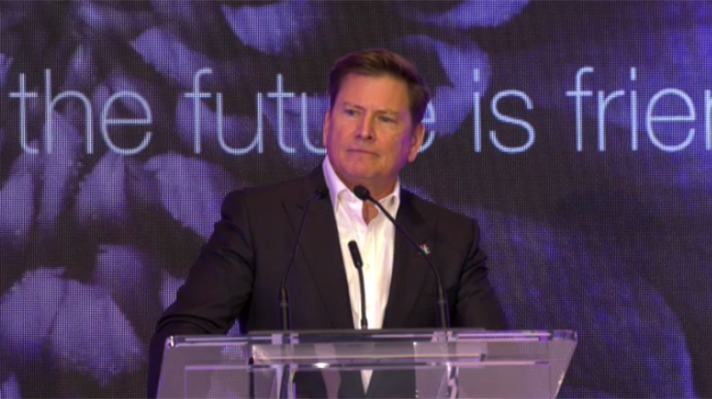 Telus president and CEO Darren Entwistle announces a $16B Alberta investment at a news conference held in Edmonton, Tuesday, Sept. 24, 2019. (CTV News Edmonton)