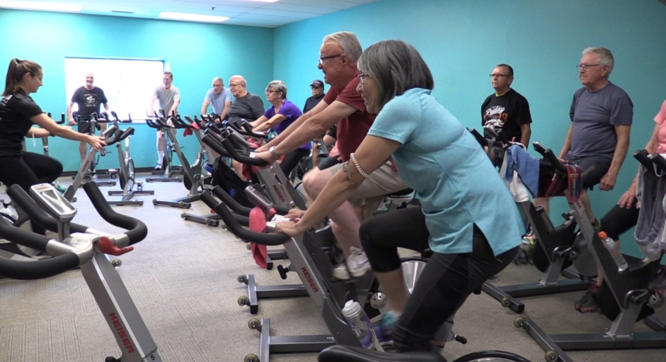 Seniors exercise as part of a study aimed at improving heart function in London, Ont. on Tuesday, Sept. 24, 2019. (Celine Zadorsky / CTV London)