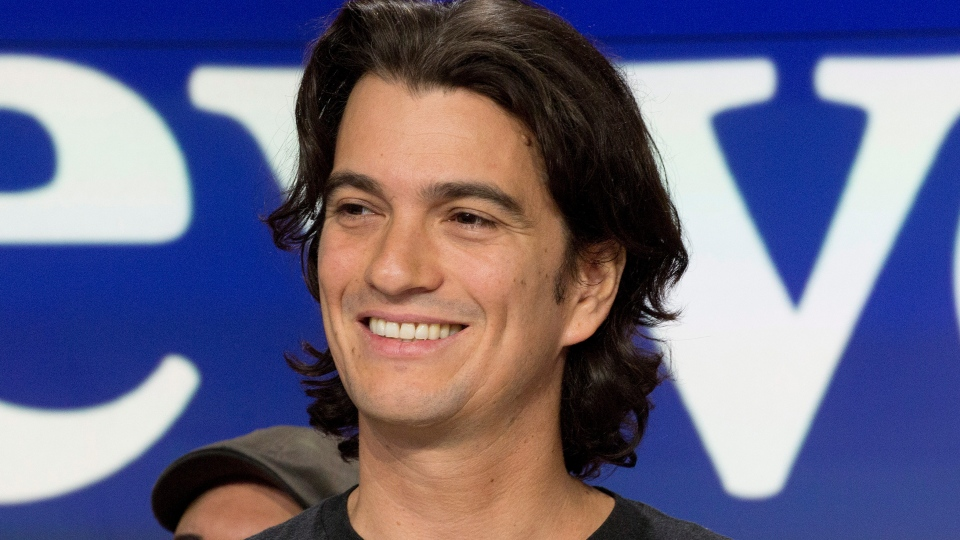 In this Jan. 16, 2018 file photo, Adam Neumann, co-founder and CEO of WeWork, attends the opening bell ceremony at Nasdaq, in New York. Neumann is stepping aside amid questions about the company's finances. The New York-based office sharing company said Neumann will remain on its board as non-executive chairman. (AP Photo/Mark Lennihan, File)