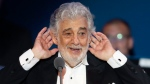 In this Aug. 28, 2019 file photo, opera star Placido Domingo listens to applause at the end of a concert in Szeged, Hungary. The Metropolitan Opera confirms, Tuesday, Sept. 24, that Domingo has agreed to withdraw from all future performances at the Met, effective immediately. (AP Photo/Laszlo Balogh, File)