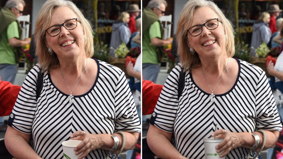 A photo of Green Party Elizabeth May holding a compostable cup (left) was edited by a Green Party staff member to add a metal, re-usable straw and the party's logo (right). May has called the incident 'stupid.'