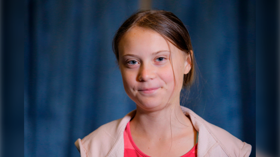 In this Friday, Sept. 20, 2019 file photo, Swedish environmental activist Greta Thunberg attends an interview with the Associated Press before the Climate Strike, at City Hall, in New York. (AP Photo/Eduardo Munoz Alvarez, File)