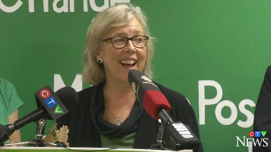 Green Leader Elizabeth May makes a campaign stop in Halifax on Sept. 25, 2019.